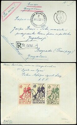1947 Registered Cover to MARSHAL TITO, Lomé Togo to Yugoslavia from AEF Soldier!