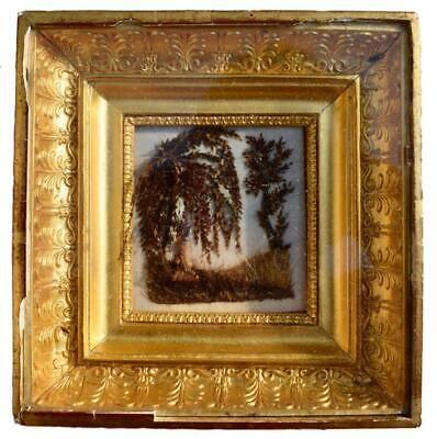 Empire Sentimental Mourning Hair Art Memento Reliquary Wall Frame Icon Grave
