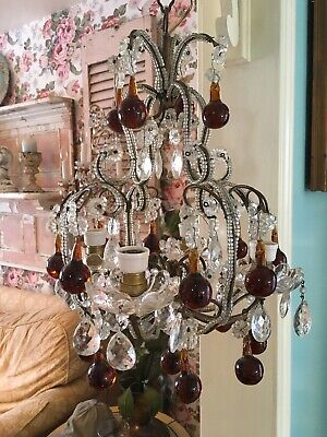 Gorgeous Antique Italian Beaded Chandelier Amber Boggles 1920-1940s
