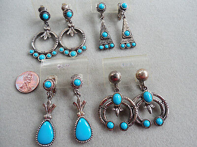 Vintage NOS lot 4 prs nice quality faux turquoise native tribal CLIP earrings DB