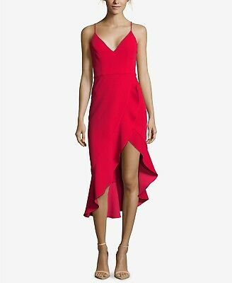 81608c43 $420 XSCAPE Women's RED RUFFLE HIGH LOW V-NECK SLEEVELESS COCKTAIL DRESS  SIZE 8