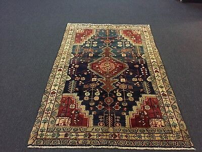 "On Sale Semi Antique Hand Knotted Persian-Hamadan Rug Geometric Carpet 4'2""x6'4"""