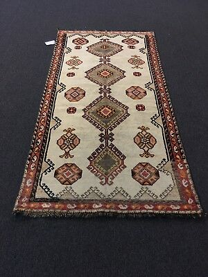 "On Sale Semi Antique Hand Knotted Persian Area Rug Geometric Carpet 3'7""x7'3"""