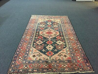 On Sale Great Semi Antique Hand Knotted Persian Rug Hamadan Geometric Carpet 4x7