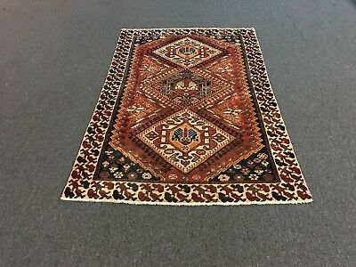 On Sale Antique Genuine Hand Knotted Persian Geometric Rug Carpet 4'1x6'6,#26077