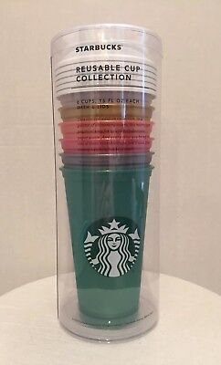Starbucks Reusable Cup Collection Holiday 2018 6 Cups 6 lids 16 oz Tumbler