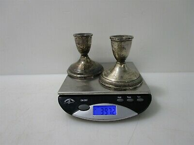 """Pair Sterling Silver Weighted Reeded 3.5"""" Candlesticks 397.2g"""