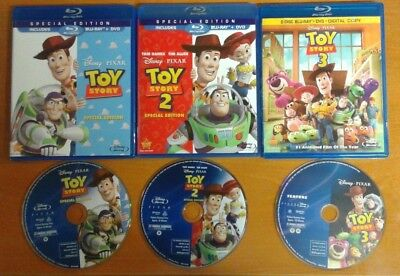 MINT Blu-Ray TOY STORY 1 2 3 ~ Authentic Region A ~ Disney Blu Ray + cases READ