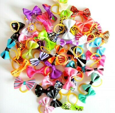 50pcs Assorted Bowknots Pet Hair Bows /Rubber Bands Dog Cat Grooming Accessories