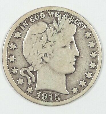 1915-D Barber Half Dollar VERY GOOD Silver 50c