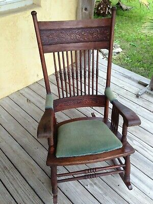 Antique Oak Press Back Rocking Chair ( Circa 1900 )