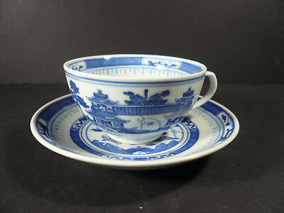 Chinese Tea Cup & Saucer Blue White Pagoda Chinese Landscape Design