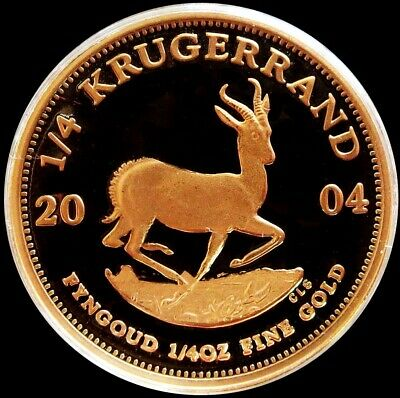 2004 GOLD SOUTH AFRICA PROOF 1/4 oz KRUGERRAND COIN IN MINT CAPSULE