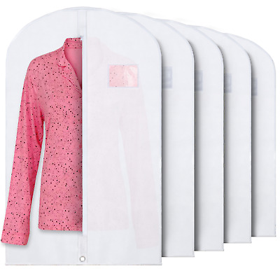 """40"""" White Hanging Garment Bags with Zipper & Window for Suits & Dresses 5 Pack"""