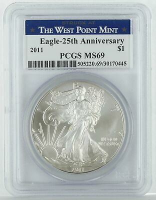 2011 1oz Silver American Eagle MS69 PCGS - Struck at West Point
