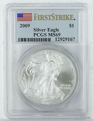 2009 1oz Silver American Eagle MS69 PCGS - First Strike Flag