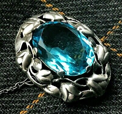 Antiques Arts & Crafts / Art Nouveau Silver and Swiss Blue Topaz Brooch - c.1900