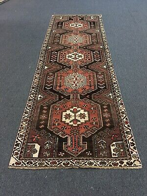 "On Sale Semi Antique Hand Knotted Persian Rug Geometric Runner Carpet 3'3""x9'9"""