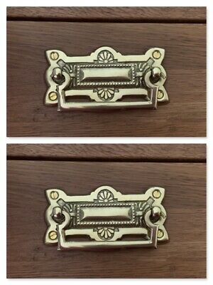 Pair Brass Drawer Handle Knobs Furniture Cupboard Ornate Cast Door Pull Knocker