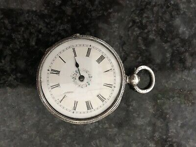 Silver Fob/Pocket Watch Floral Dial