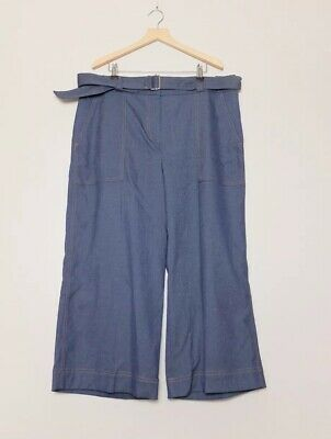 Next Tailoring Blue Cropped Belted Trousers Size 16R BNWT