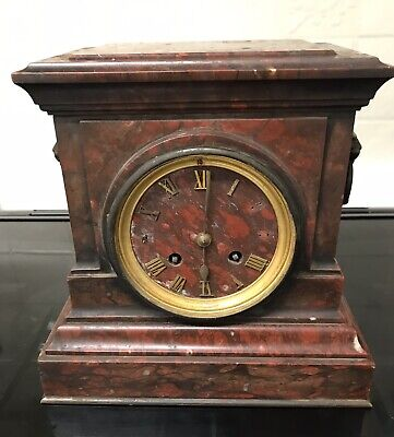 Stunning Extremely Rare Red Marble Japy Freres Mantle Clock By F Bardenienne