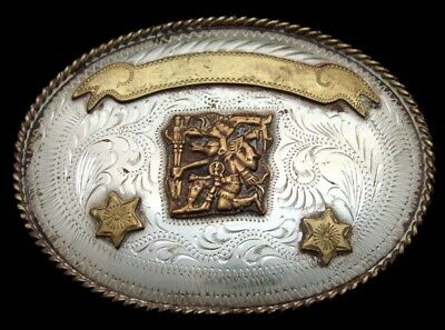 OC26125 AMAZING VINTAGE 1970s **ANCIENT INDIAN WARRIOR** GERMAN SILVER BUCKLE