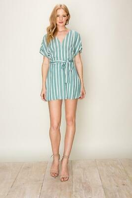 HyFve Women's Sea Foam Green White Striped Kimono Romper HF19C088