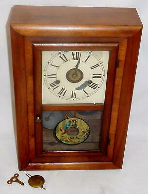 Seth Thomas Ogee Spring Works Mantle Clock w/ Cats Chasing a Mouse Scene c.1890