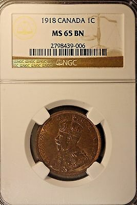 1918 Canada 1 cent NGC MS 65 BN                 ** FREE U.S. SHIPPING **
