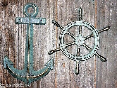 (2) Vintage Look Anchor Home Decor Christmas Gift, Solid Cast Iron, N-42,27