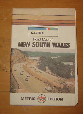 Vintage CALTEX ROAD MAP NSW wall map geography Travel Metric Edition C.1970's