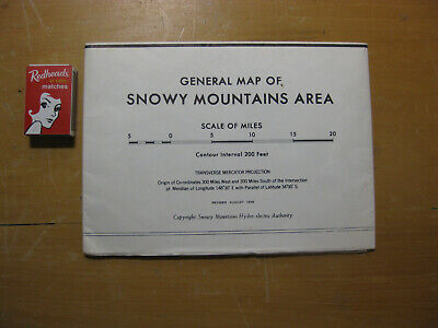 Vintage MAP OF SNOWY MOUNTAINS AREA C.1968 travel tourism GEOGRAPHY Eucumbene