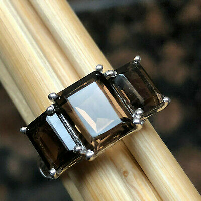 Genuine 4ct Smoky Topaz 925 Solid Sterling Silver Emerald Cut 3-Stone Ring 9