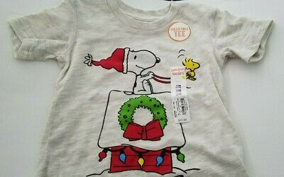 Infant Boys Jumping Beans Heather Gray Snoopy Christmas T Shirt Size 12M 18M 24M