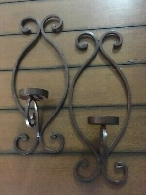 "Vintage  Wrought Iron Collection - WALL SCONCES, CANDLE HOLDERS - 15"" X 6"""