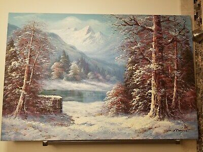 "Oil Painting on Canvas by Artist Morgan Winter Mountain Scene 24"" x 36"" No Frame"