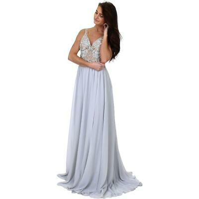 Terani Couture Silver Chiffon Embellished Prom Crop Top Dress Gown 12 BHFO 5680