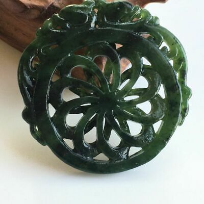 Certified Chinese old natural hetian green jade hand-carved flower pendant