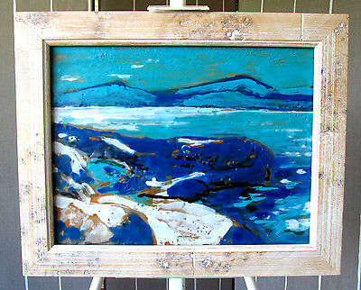 Painting Original Encaustic by Mark Callen, NW Artist, Sea Scape 2008 Signed