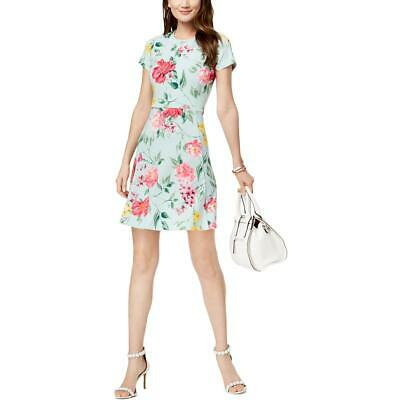 73d63034f28 Jessica Howard Womens Green Floral Print Above Knee Party Dress 16 BHFO 2513