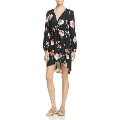 Band of Gypsies Womens Black Floral Faux Wrap Hi-Low Casual Dress XS BHFO 0358