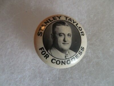 Kansas Congressional Campaign Button Pin Back Stanley Taylor 1940 Local Congress