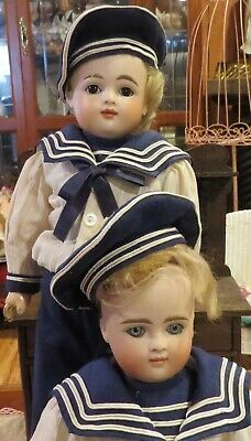 Antique C1890 Pair of AT Kestner Closed Mouth Bisque Dolls, Great Outfits