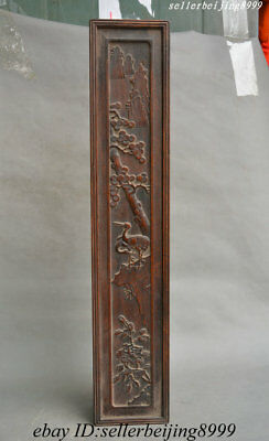 Old China Huang Huali Wood Carving Bird Pine Mountain Pattern Picture Scroll Box