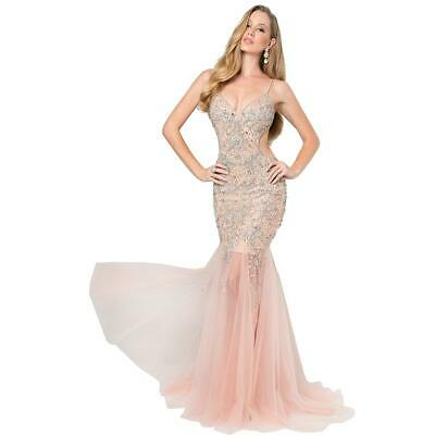 69323d05beb Terani Couture Pink Prom Beaded Cut-Out Evening Dress Gown 14 BHFO 9633