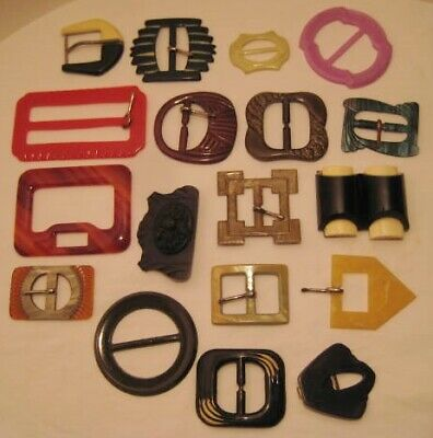 Old Collection of 18 Ladies Belt Buckles - Art Deco - Celluloid - Bakelite LARGE