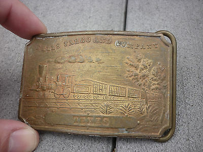 Vintage Wells Fargo & Co TEXAS Train Belt Buckle Tiffany NY Brass Bronze