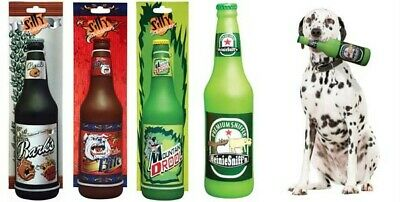 SILLY SQUEAKERS SOFT RUBBER NOVELTY DOG FETCH TOY BEER SODA BOTTLE 8 Varieties