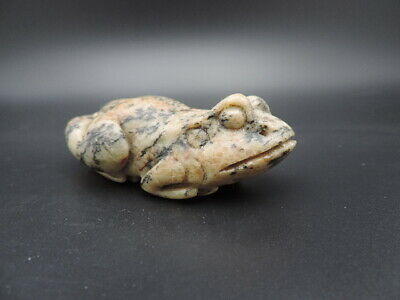 Old Hand-carved Chinese Shoushan Stone Sculpture Lucky Golden Toad Statue B